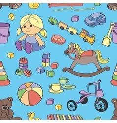 Doodle pattern toys vector image