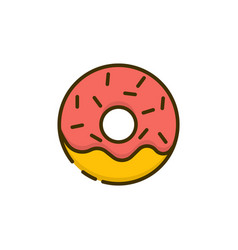doughnut outline color icon dessert snack vector image