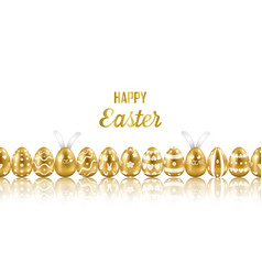 easter gold eggs and rabbits horizon seamless web vector image