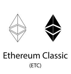ethereum classic black silhouette vector image
