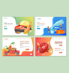 farm food dairy meat and vegetable market banners vector image