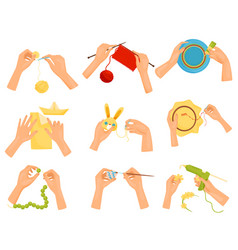 Flat set of icons showing different hobbies vector