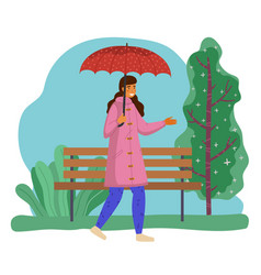 girl goes with red dotted umbrella park bench vector image