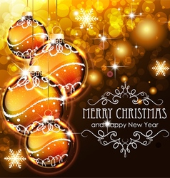 Golden Christmas ball on a holiday background vector