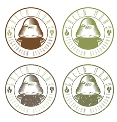 Green monk vegetarian restaurant vintage emblems vector