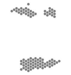 Grey hexagon usa virgin islands map vector