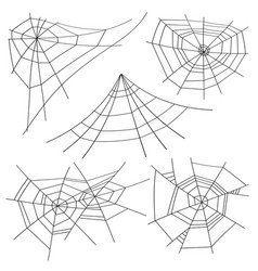 Halloween spider web set isolated for vector
