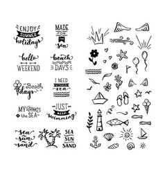 Hand-drawn lettering and doodle clipart on sea vector
