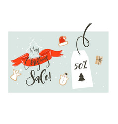 hand drawn merry christmas shopping time vector image