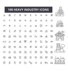 heavy industry editable line icons 100 set vector image