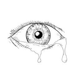 Human eye crying tears flowing drawing vector