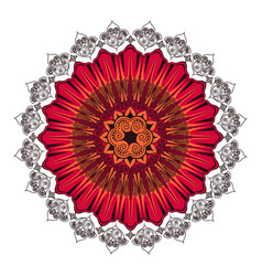 Indian ornament circular rosette color red vector