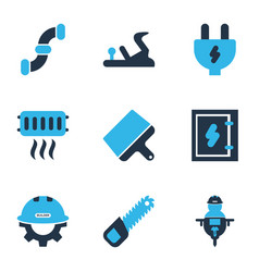 industry icons colored set with man with drill vector image