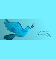 international peace day dove social media banner vector image