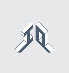 Io - logo or 2-letter code isometric 3d font vector