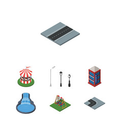 isometric city set of seesaw carousel turning vector image