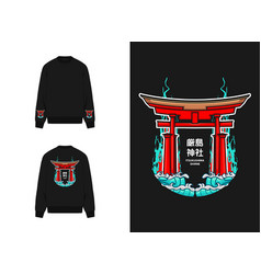 Japanese streatwear itsukushima shrine vector