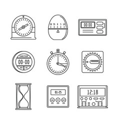 kitchen timer icons set outline style vector image