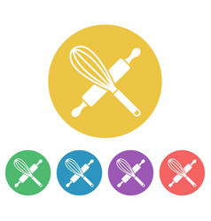 kitchen tools set colored round icons vector image