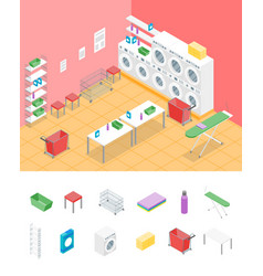 Laundry room concept interior and elements part vector