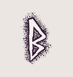 Letter b rune logo on dots background vector
