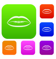 lips with lines drawn around it set color vector image