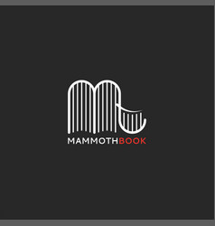 logo books in form a mammoth or elephant vector image