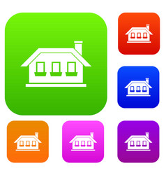 One-storey house with three windows set collection vector