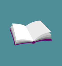 open empty book purple pink icon isolated on blue vector image