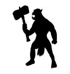 Orc silhouette monster villain fantasy vector