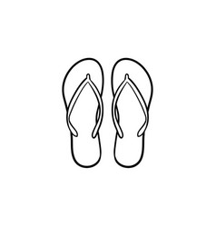 Pair of flip flop slippers hand drawn outline vector