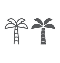 palm tree line and glyph icon summer and beach vector image