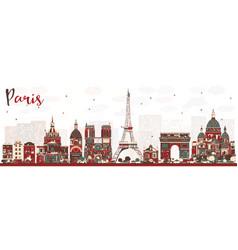 paris france skyline with color landmarks vector image