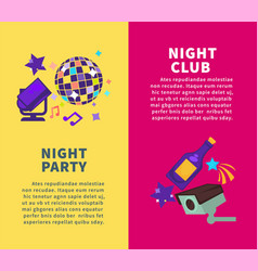 party at night club promotional vertical posters vector image