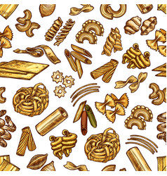pasta and spaghetti seamless pattern vector image