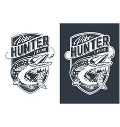 pike hunter emblem design vector image