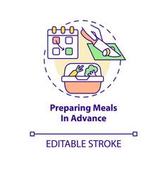 Preparing meals in advance concept icon vector