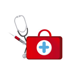 red suitcase health with stethoscope and syringe vector image