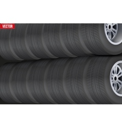Row of many car tires at warehouse vector