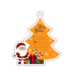 santa and christmas tree with gifts gift tag vector image