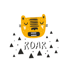 Scandinavian print in cartoon style with tiger vector