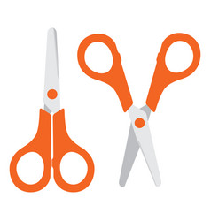 set closed and open scissors isolated on white vector image