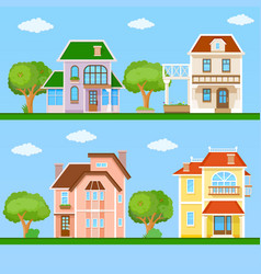 Set of house flat icons vector