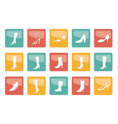 shoe and boot icons over colored background vector image