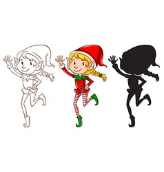 Sketches an elf in three colors vector