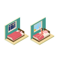 sleep wake up girl isometric bedroom girl vector image