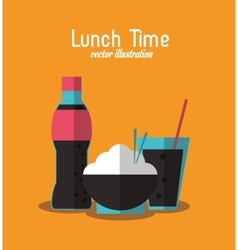 Soda rice coke lunch time menu icon vector