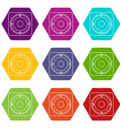 speaker icons set 9 vector image