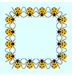 square frame from flat ladybugs vector image
