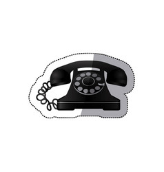 Sticker monochrome silhouette antique phone with vector